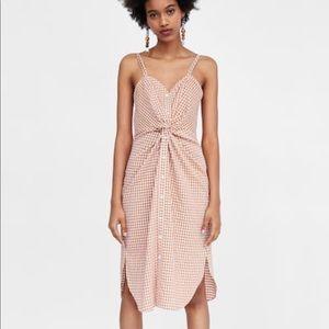 Zara Checkered Dress w/ Knot Detail